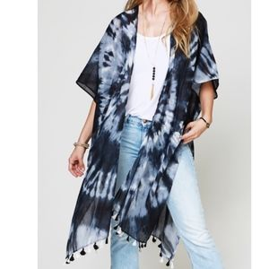 Tie Dye Tassel Accent Kimono